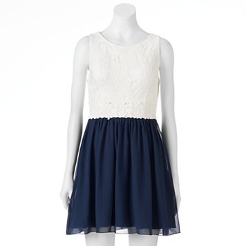 Juniors' Speechless Lace T-Back Chiffon Skater Dress