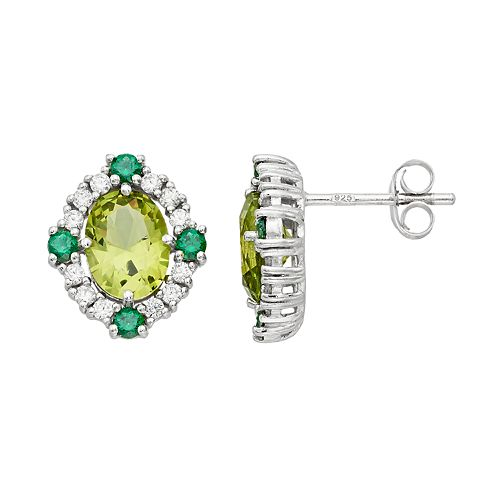 Sterling Silver Simulated Peridot & Cubic Zirconia Oval Stud Earrings