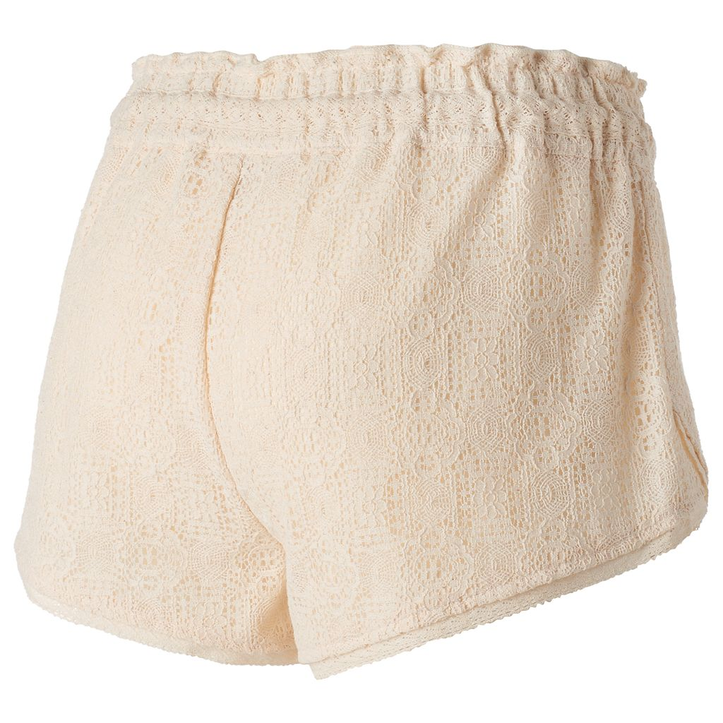 Juniors' Rewind Envelope-Hem Lace Shortie Shorts