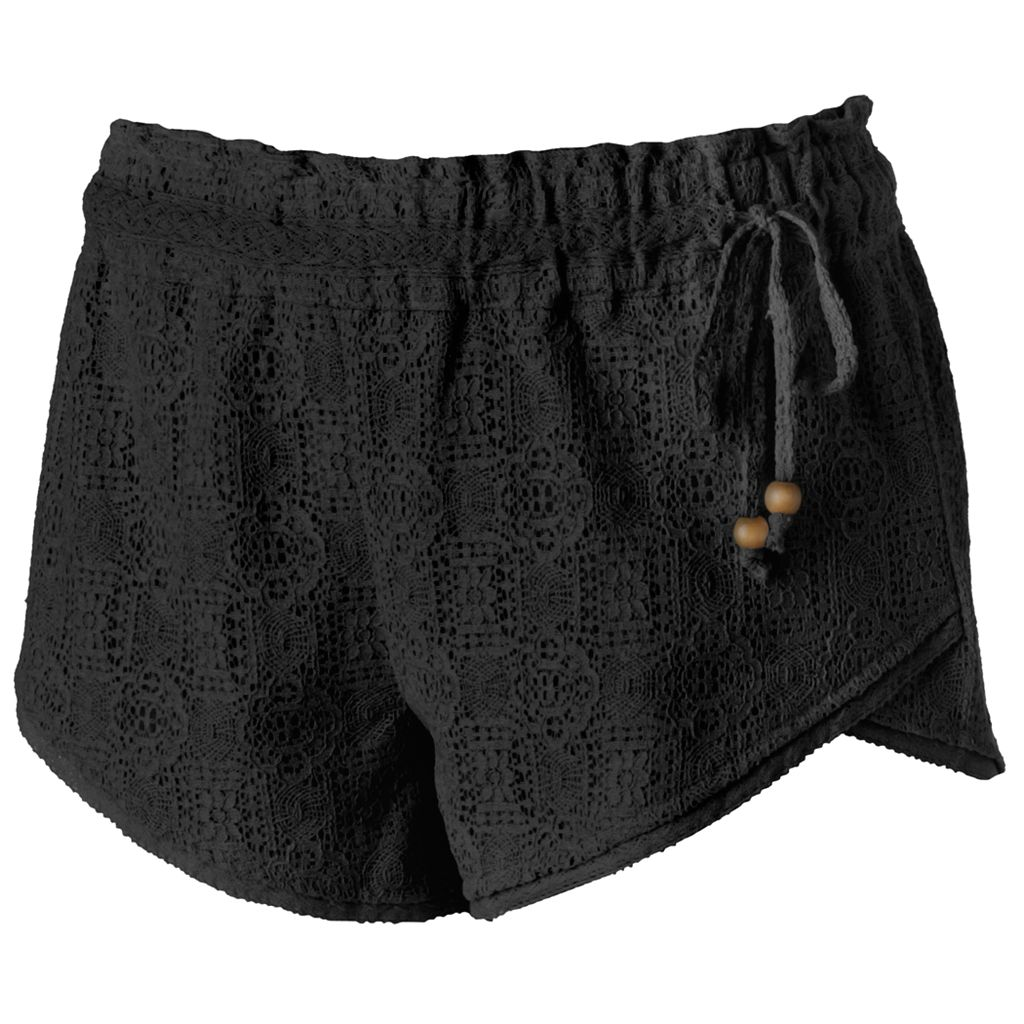 Juniors' Rewind Envelope-Hem Lace Shortie Shorts