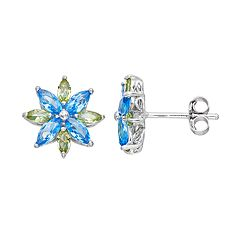 Sterling Silver Simulated Blue Topaz & Peridot Flower Stud Earrings