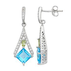 Sterling Silver Blue Topaz, Peridot & Cubic Zirconia Kite Drop Earrings