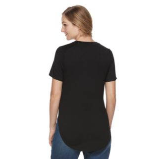 Maternity a:glow Solid Side-Slit Crewneck Tee