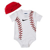 Baby Boy Nike Sports-Themed Bodysuit & Hat Set