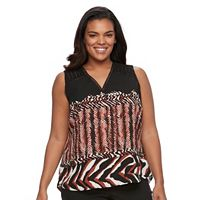 Plus Size Dana Buchman Printed Crochet-Trim Top