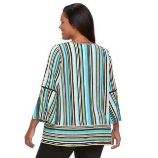 Plus Size Dana Buchman Striped Lace-Up Top