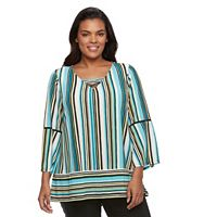 Plus Size Dana Buchman Striped Lace-Up Top