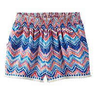 Girls 7-16 Joey B Patterned Soft Fringe Trim Shorts