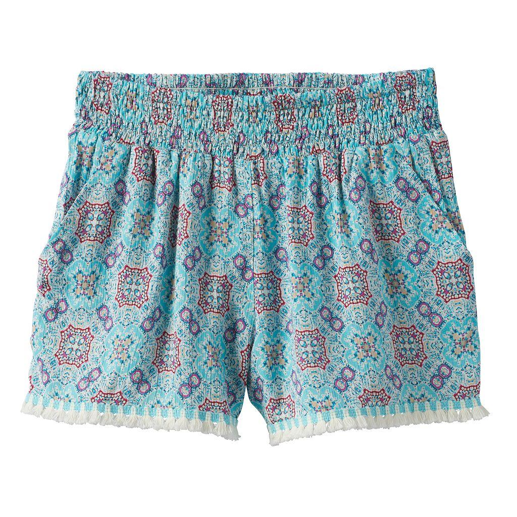 Girls 7-16 Joey B Patterned Soft Fringe Trim Shorts