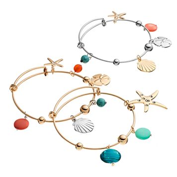Sea Life Charm Bangle Bracelet Set