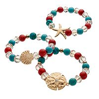 Starfish, Seashell & Sand Dollar Beaded Stretch Bracelet Set