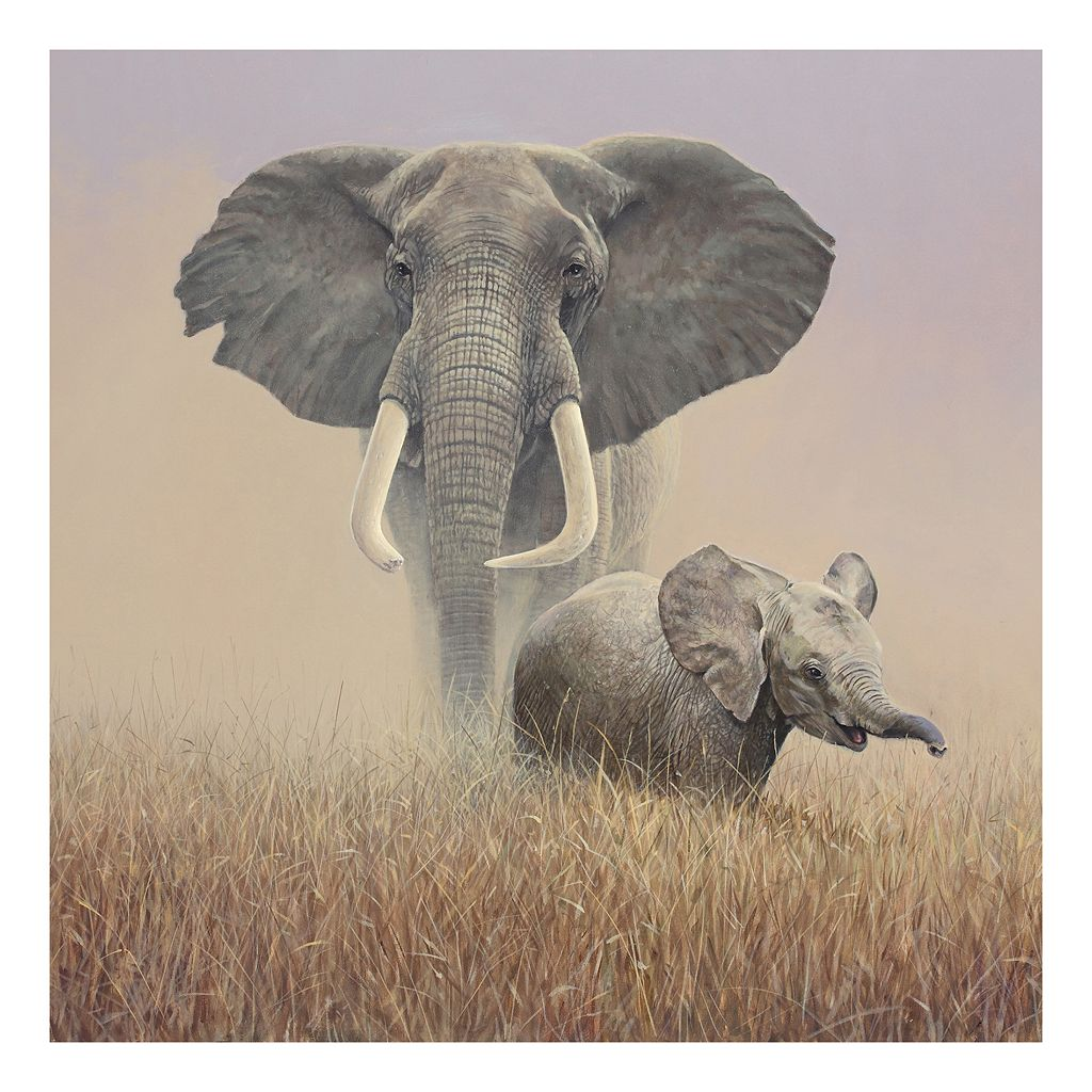 Family Portrait Elephant Canvas Wall Art