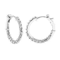 Diamond Splendor Sterling Silver Crystal & 1/4 Carat T.W. Diamond Twist Hoop Earrings