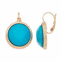 Aqua Faceted Nickel Free Circle Drop Earrings