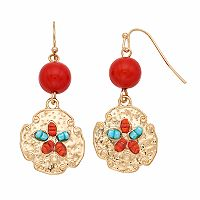 Seed Bead Sand Dollar Nickel Free Drop Earrings