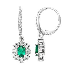 Sterling Silver Simulated Emerald & Lab-Created White Sapphire Oval Drop Earrings