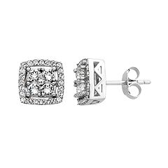 Diamond Splendor Sterling Silver Crystal & 1/4 Carat T.W. Diamond Square Halo Stud Earrings