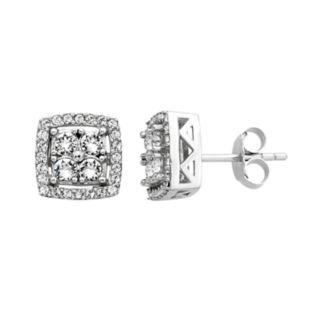 Diamond Splendor Sterling Silver Crystal & 1/4 Carat T.W. Diamond Square Halo Stud Earrings