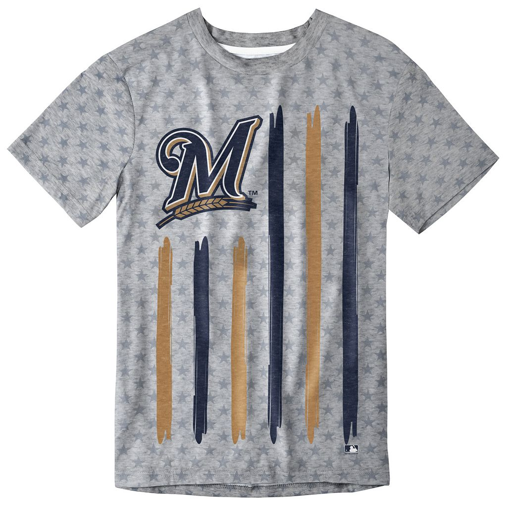 Men's Milwaukee Brewers Big Logo Flag Tee