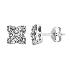 Diamond Splendor Sterling Silver Crystal & 1/4 Carat T.W. Diamond Butterfly Stud Earrings