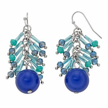 Blue Beaded Nickel Free Fringe Drop Earrings