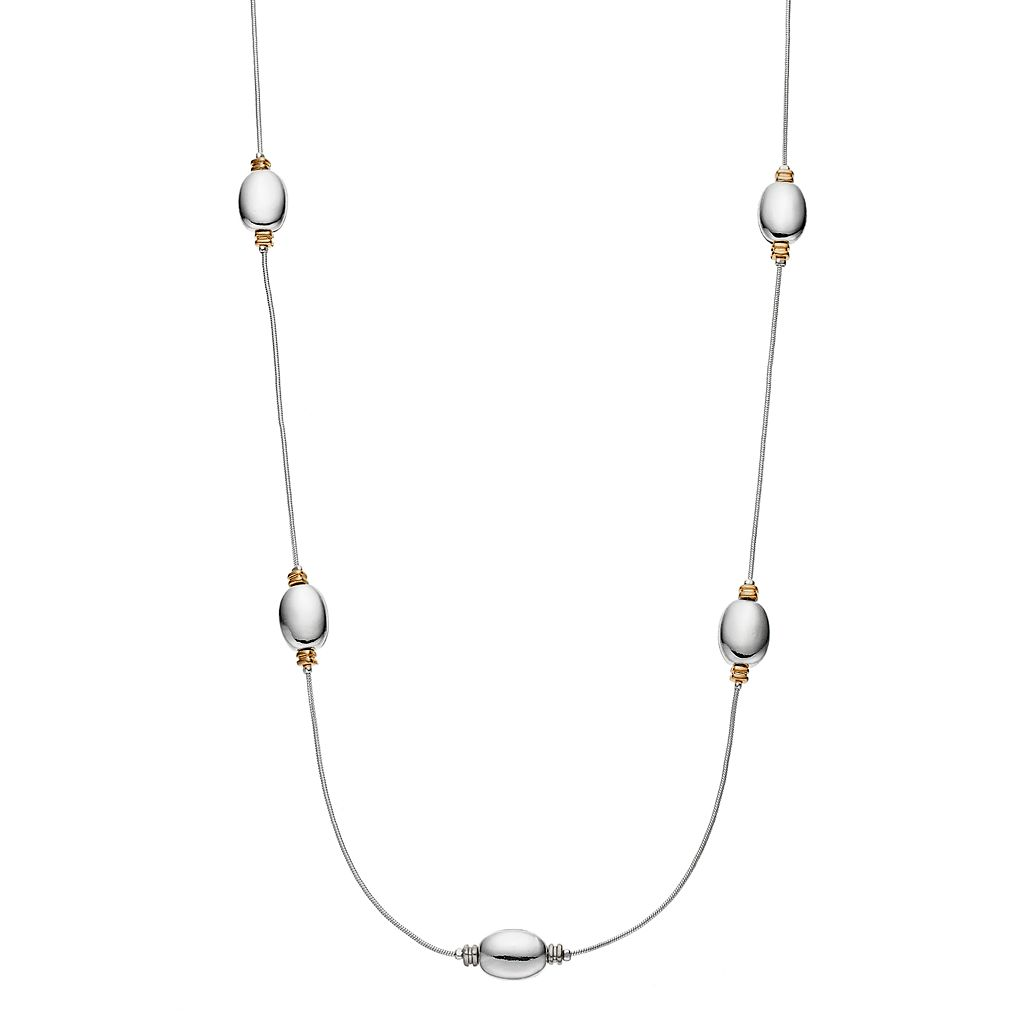 Napier Two Tone Long Oval Station Snake Chain Necklace