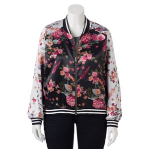 Juniors' Plus Size Love, Fire Floral Bomber Jacket