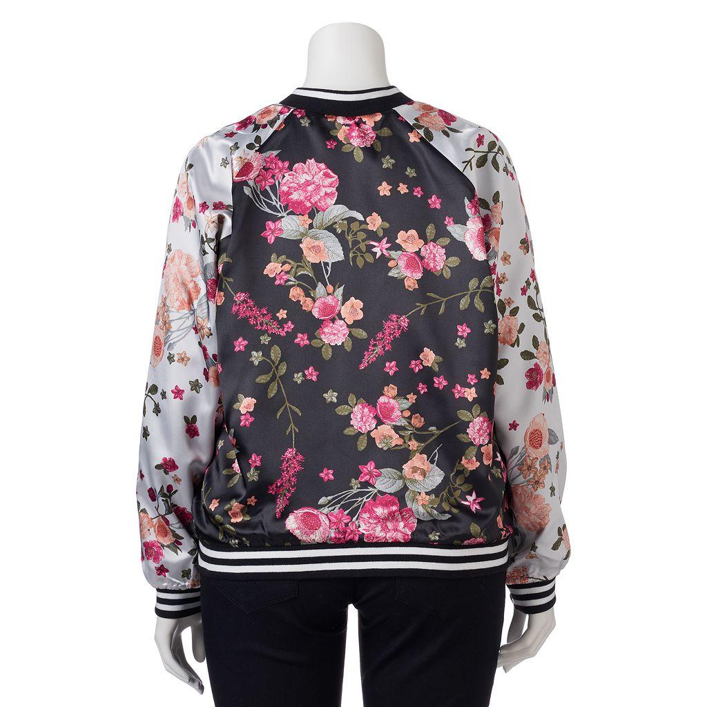 Juniors' Plus Size Love, Fire Floral Bomber Jacket