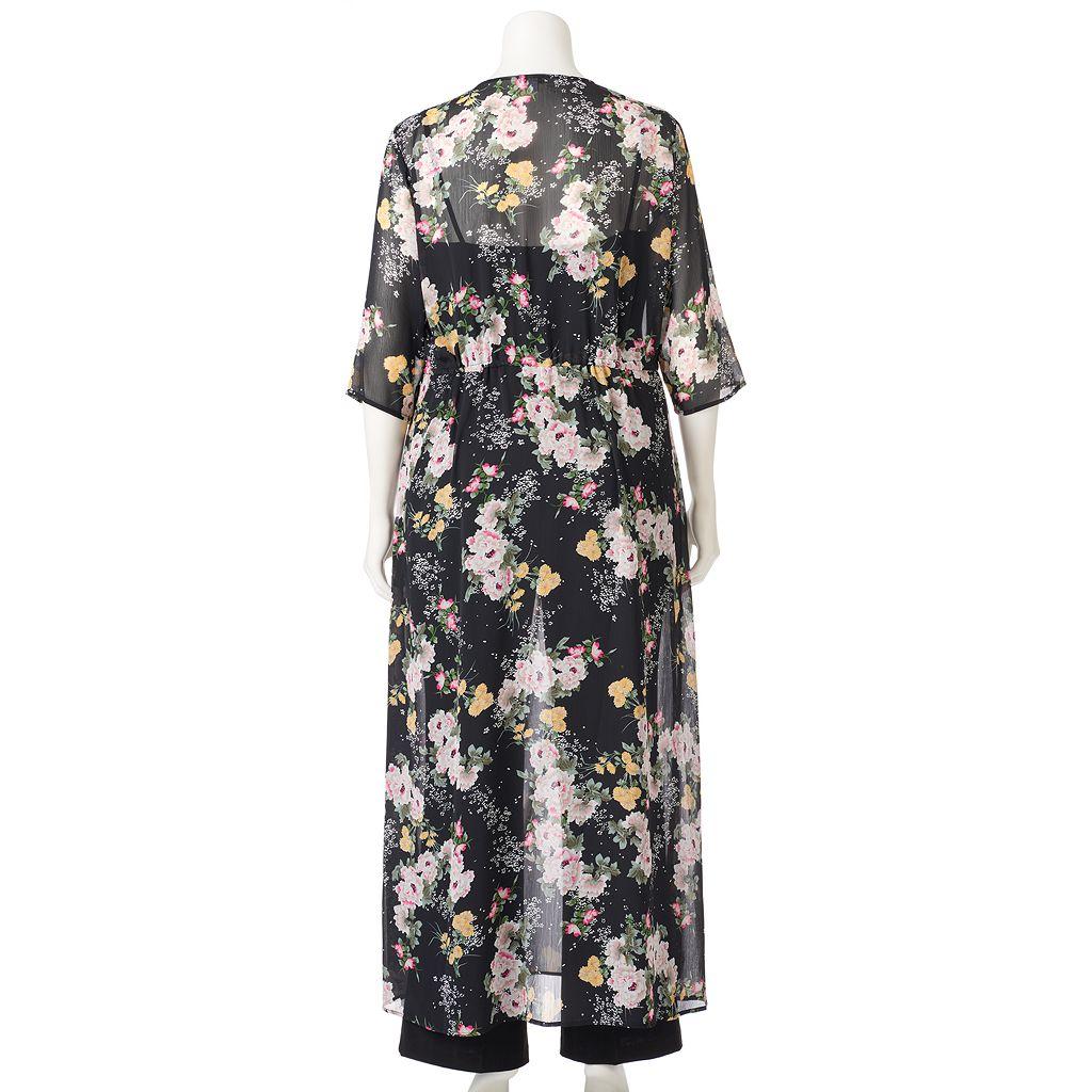 Juniors' Plus Size Love, Fire Floral Long Kimono