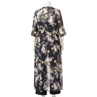 Juniors' Plus Size Love, Fire Floral Long Kimono