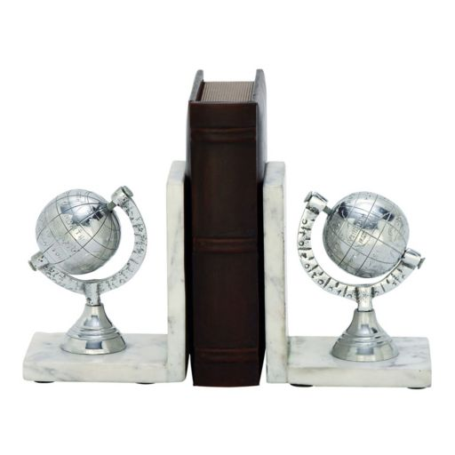New Traditional Silver Globe Bookends 2-piece Set