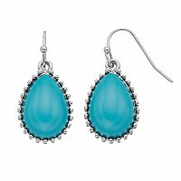 Aqua Cabochon Nickel Free Teardrop Earrings