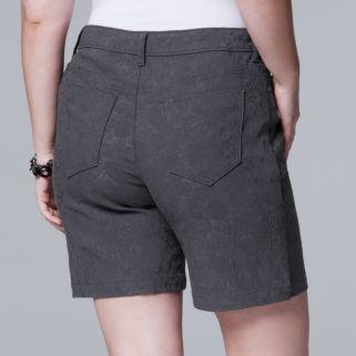 Plus Size Simply Vera Vera Wang Floral Jacquard Bermuda Shorts