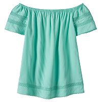 Girls 7-16 SO® Openwork Off Shoulder Woven Babydoll Top