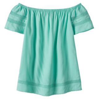 Girls 7-16 SO® Openwork Off Shoulder Woven Babydoll Top
