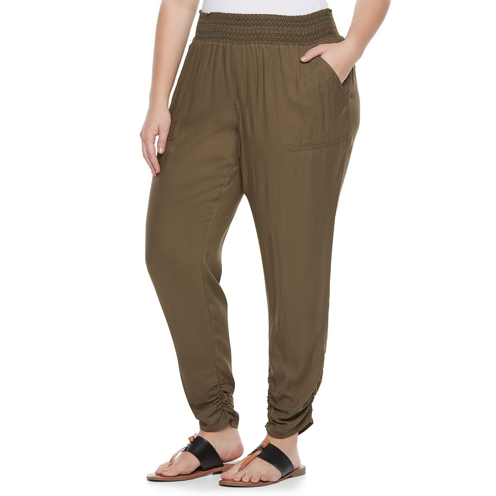 Juniors' Plus Size SO® Ruched Hem Pants