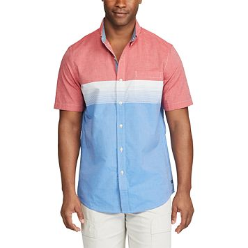 Men's Chaps Classic-Fit Chest-Striped Poplin Button-Down Shirt