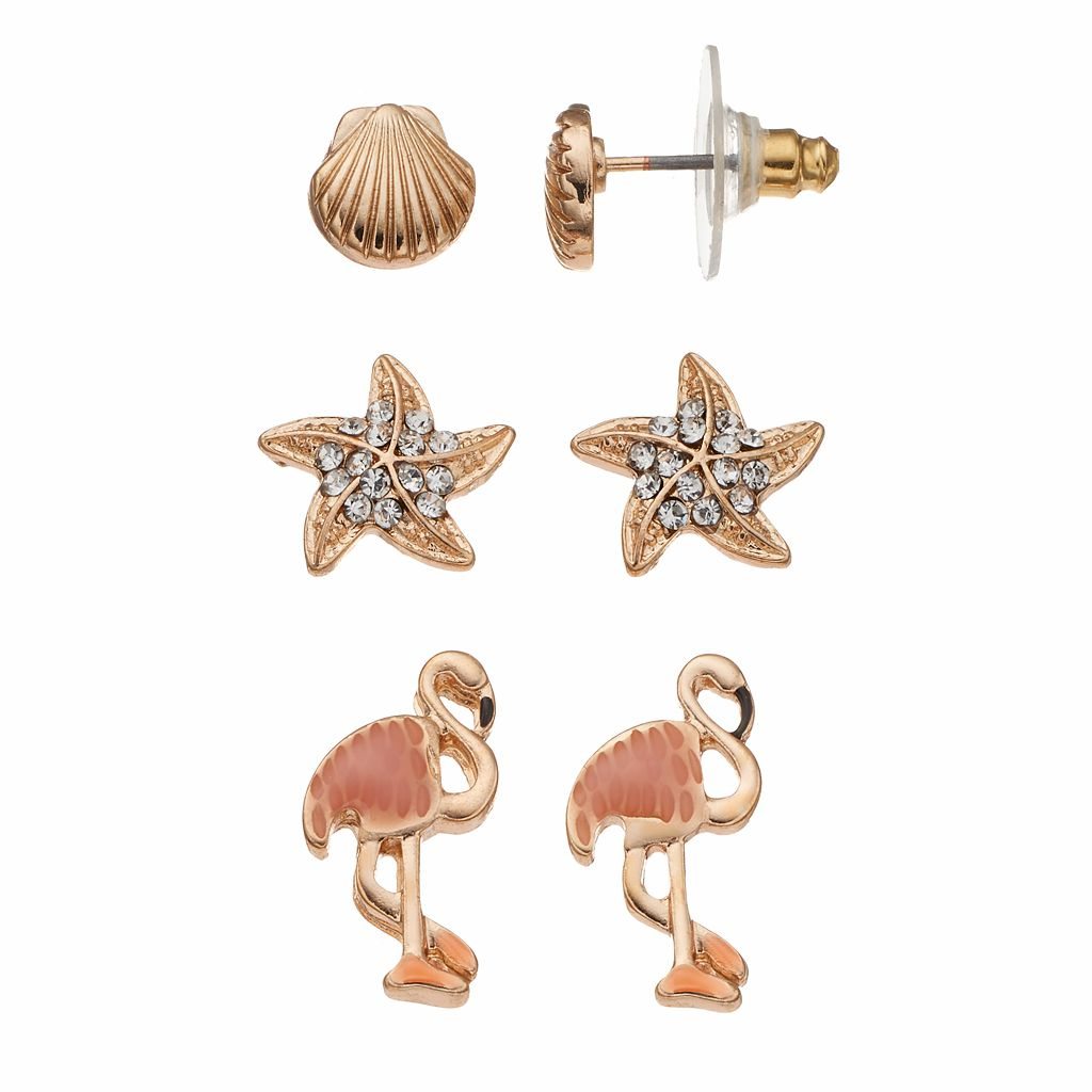 Nickel Free Seashell, Starfish & Flamingo Stud Earring Set