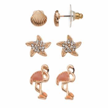 Nickel Free Seashell, Starfish & Flamingo Stud Earring Set