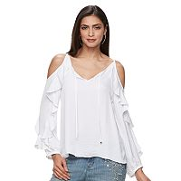 Women's Jennifer Lopez Cold-Shoulder Ruffle Top