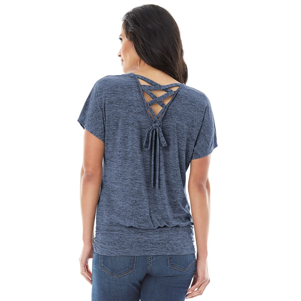 Women's AB Studio Lace-Up Back Scoopneck Top
