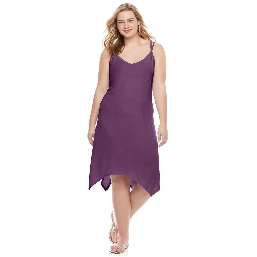 Juniors' Plus Size Mudd® Handkerchief-Hem Trapeze Dress