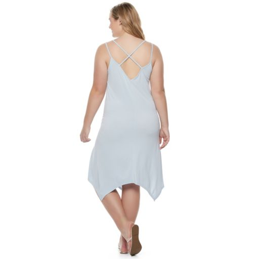 Juniors' Plus Size Mudd® Handkerchief-Hem Trapeze Dress