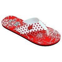 Women's College Edition Wisconsin Badgers Floral Polka-Dot Flip-Flops