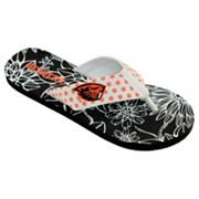 Women's College Edition Oregon State Beavers Floral Polka-Dot Flip-Flops