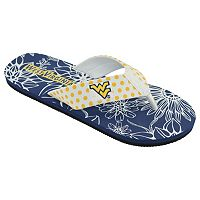 Women's College Edition West Virginia Mountaineers Floral Polka-Dot Flip-Flops