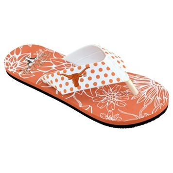 Women's College Edition Texas Longhorns Floral Polka-Dot Flip-Flops