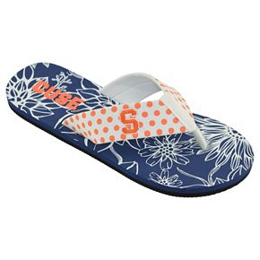 Women's College Edition ... Syracuse Orange Floral Polka-Dot Flip-Flops y0d28