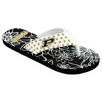 Women's College Edition Purdue Boilermakers Floral Polka-Dot Flip-Flops