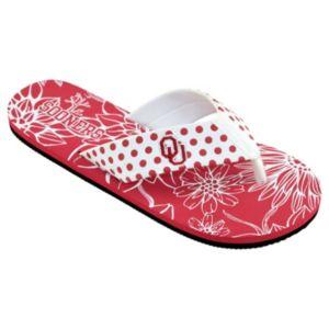 Women's College Edition Oklahoma Sooners Floral Polka-Dot Flip-Flops
